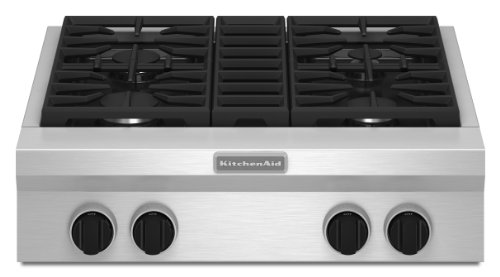 Kitchenaid KGCU407VSS Commercial-Style Gas Cooktop