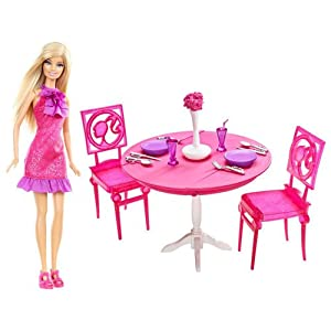 Barbie Dinner Date Night Dining Room Set and Doll