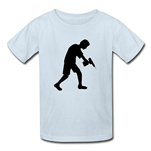 Kids Cordless Drill Craftsman Tshirt - Hot Kids Design Light Blue T Shirt