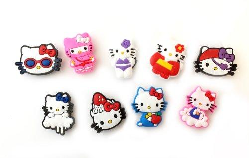 9 pezzi Hello Kitty # 5 Pendaglio di Gomma Decorazione set di Decorazione di Scarpa