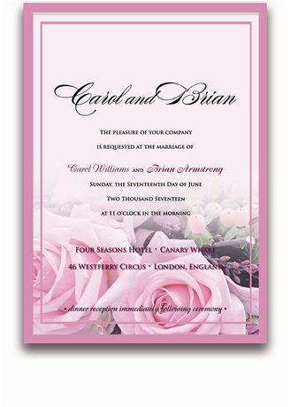 135 Rectangular Wedding Invitations - Baby Pink Roses on Pink