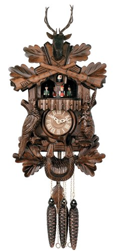 River City Clocks One Day Musical Hunter's Cuckoo Clock with Dancers, Hand-carved Animals, and Buck - 17 Inches Tall - Model # MD419-17