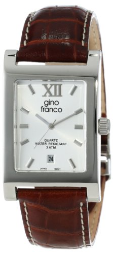 gino franco Men's 997TN Stainless Steel Case and Genuine Leather Strap Watch