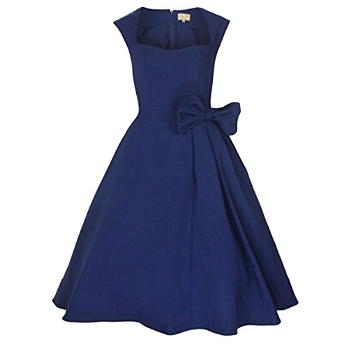 E.Jan1St Women'S Classy Vintage Dress 1950'S Rockabilly Swing Bow Party Tea Dress, Navy Blue, 6