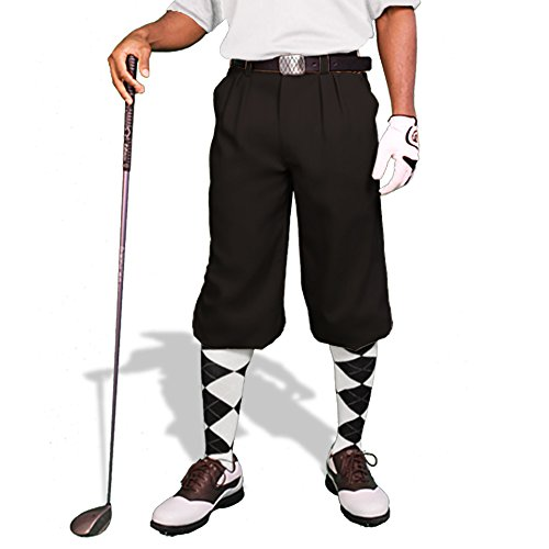 Black Golf Knickers: Mens 'Par 3' - Microfiber