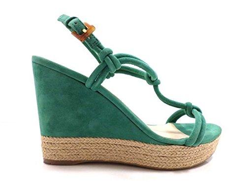 scarpe donna PRADA 41 sandali verde camoscio AW563