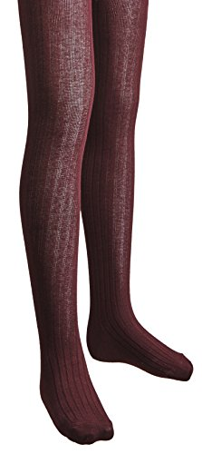 Sportoli™ Girls Ribbed Cotton Hold and Stretch Footed Winter Sweater Tights - Wine (size 12/14)