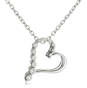 Sterling Silver Diamond Journey Heart Pendant Necklace (1/10 cttw, I-J Color, I2-I3 Clarity), 18""