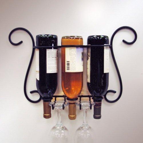 J&J Wire 3-Bottle Wall Wine/Glass Holder front-522793