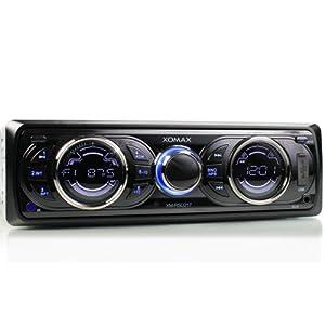 XOMAX XM-RSU217 Autoradio avec port USB (jusqu'à 32 GB) et fente pour cartes SD (jusqu'à 32 GB) + Reproduction de fichiers MP3 et WMA + Entrée AUX + Dimensions standard simple DIN (DIN1) + Profondeur réduite + Télécommande et tiroir métallique inclus
