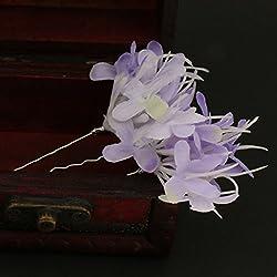 Phenovo 2pcs Pretty Flower Hair Pin Bobby Women Bridal Hairdressing Light Purple