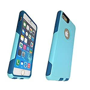 iphone 6s case, Lucky On iphone 6 / 6s 5.5in Durable Pro Dual Layer Hybrid Armor Heavy Duty Shockproof Shell Case - Extra Screen Protector - Cyan & Teal