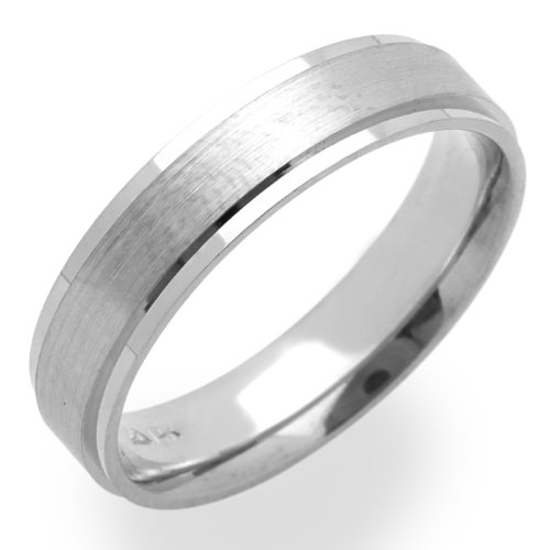 14K White Gold Wedding Bands For Women 5MM Satin Finished Ring , Size 6.5