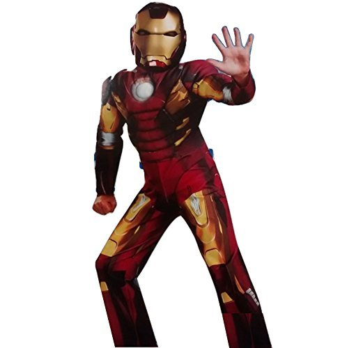 Superheld Character Kinder Deluxe Muskel Brust Anzug Halloween Kostüm Kostüm Party Outfit 4-6 Jahre - Iron Man Marvel Avengers