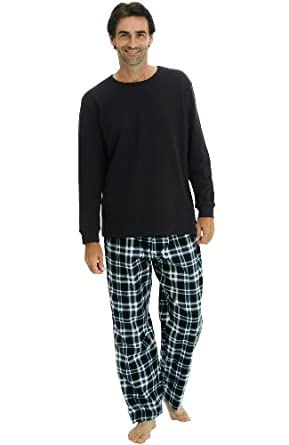 Del Rossa Men's Long Pajama Set - Knit Top with 100% Cotton Flannel Sleep Pants, Small Black and Blue Plaid (A0706P26SM)