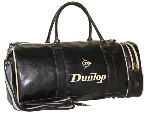 Dunlop Retro Gym Holdall Sports Weekend Barrel Shoulder Bag Black. Classic vintage design