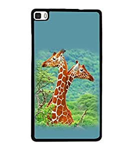 printtech Giraffe Jungle Couple Back Case Cover for Huawei P8