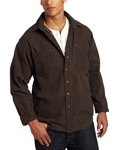 Men's Big-Tall Flannel Lined Duck Shirt/Jacket, Bark, 4X