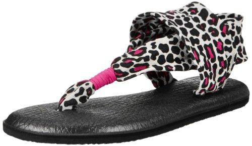Sanuk Kids Yoga Sg Dress Sandal (Little Kid/Big Kid),Black/Fuchsia Cheetah,Large/1-2 M Us Little Kid front-500225
