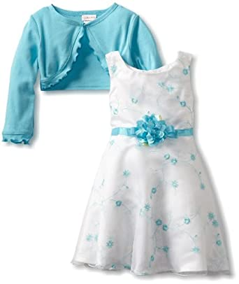 Youngland Girls 2-6X Two Piece All Over Embroidery Organza Dress Set, Turquoise, 6x