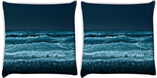 Snoogg Meer bei Nacht Strand 2Stück Digital Kissenbezug, bedruckt Kissen 50,8x 50,8cm