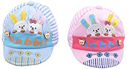 Kandyfloss Babies Caps - Pack of 2 Caps (MRHKFCAPS05, Multi-Colored, 3-6 Months)