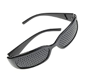 4sold (TM) Dioptric pinhole with metal hinges GridGlasses Pinhole glasses for eyesight strengthening Pinhole Glasses for Eyesight Strengthening - Unisex Black - unisex black