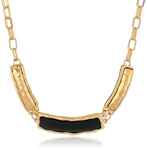 """T Tahari """"Essentials"""" Hammered Gold and Resin Box Black Link Necklace, 17"""""""