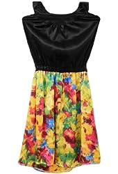 Allegra K Women's Mock Neck Backless Elastic Waist Dress