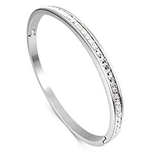 MunkiMix Edelstahl Armband Armreifen Manschette CZ Zirkon Zirkonia Silber Elegant Polished Damen
