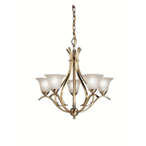 2020AB Dover 5LT Chandelier, Antique Brass Finish with Etched Seedy Glass Kichler Lighting B002644KZY