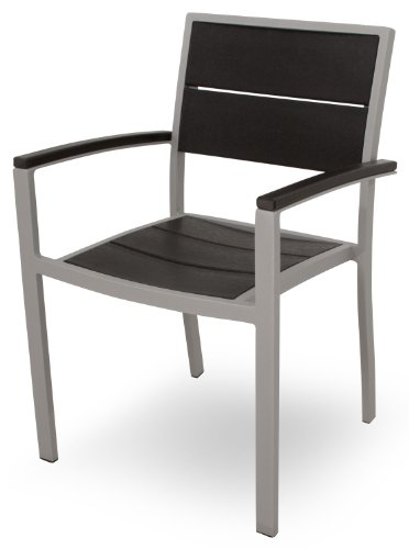 Trex Outdoor Furniture Txa210-11Cb Surf City Dining Arm Chair, Textured Silver/Charcoal Black