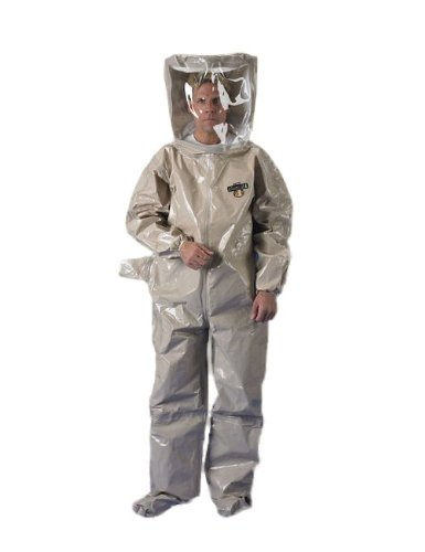 Lakeland ChemMax 4 TES Level B Taped Seam Encapsulated Suit with Flat Back and Rear Entry, Disposable, Elastic Cuff, 3X-Large, Tan
