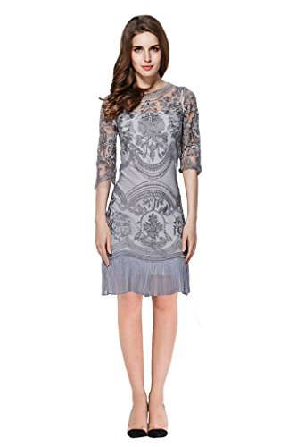 Lily Mode Women's Two Layer Embroidery Lace Petite Special Occasion Sheath Dress