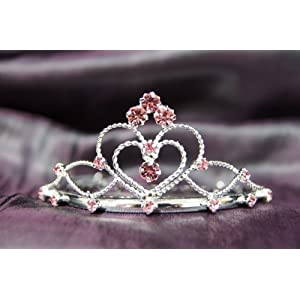 08a018d7c17576 Princess Bridal Wedding Tiara Crown with Pink Crystal Heart C16055 on  PopScreen