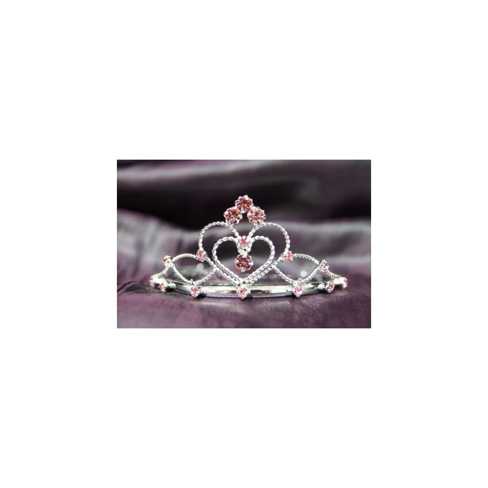 a32fa7c66184af Princess Bridal Wedding Tiara Crown with Pink Crystal Heart C16055 ...