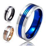 ステンレスリング 指輪 ブルー・青 ローズゴールド ブラック sr0089