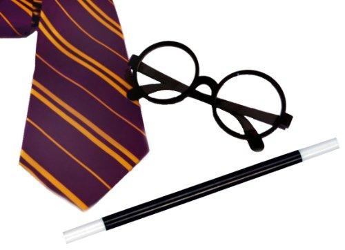 WIZARD SET FANCY accessori per COSTUME da donna COSTUME scuola BOY con + a forma di WIZARD occhiali + MAGICIAN WAND MAGICIAN OUTFIT