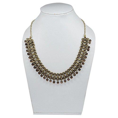 silvesto India Smoky Quartz in ottone collana per le donne pg-7893