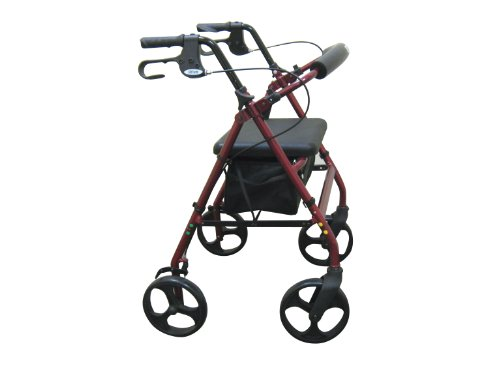 Drive Medical Aluminum Rollator with Fold up and Removable Back Support Padded Seat 8 Inch Casters with Loop Locks Red