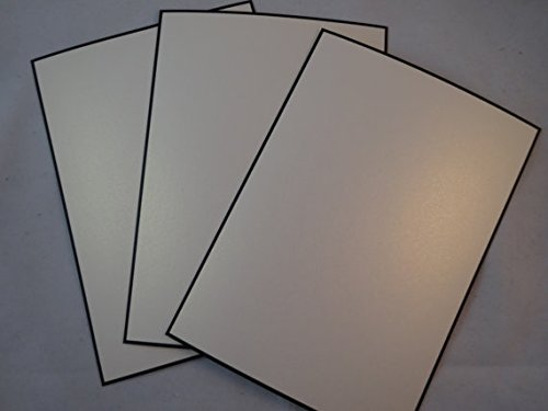 Metallic White Gold with Black Border A-2 Flat Cards - 50 Pack