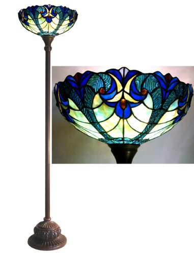 Tiffany Style Blue Halston Torchiere Floor Lamp 71