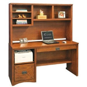 Legends furniture mission computer desk with hutch in red oak - Mission style computer desk with hutch ...