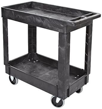 Rubbermaid Commercial Products FG9T6600BLA Structural Foam Service Cart with Lipped Shelves, Black