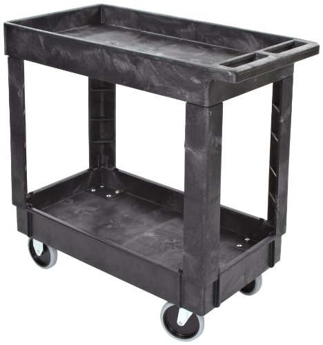 Rubbermaid Commercial Structural Foam Service Cart with Lipped Shelves, 2 Shelves, Black, 300lbs Capacity, 31-1/4