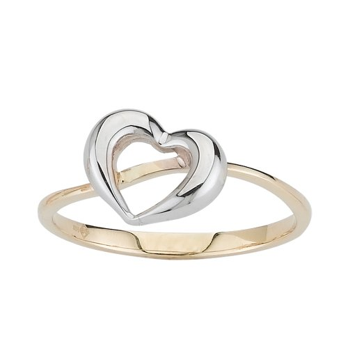 14k Two Tone Gold Heart Ladies Ring, Size 7