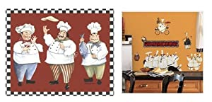 Gourmet Chefs Glass Cutting Board with Matching Chef Wall Decals