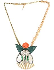 OOMPH's Gold & Forest Green Choker Necklace With Coral Orange Rosette For Women, Girls & Ladies