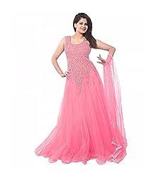 Pure Fashion Women's Net Unstitched Dress (Pink)