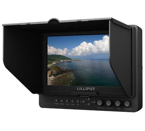 """Lilliput 665 7"""" On-Camera Hd Lcd Field Monitor W/ Hdmi In & Component In Video In Video Out +1/4"""" Hot Shoe Mount+Pisen Du21 Battery And Charger By Viviteq Inc"""